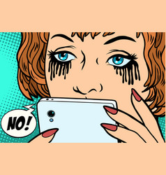 the woman was crying mascara running phone vector image vector image