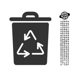 Trash can icon with work bonus vector