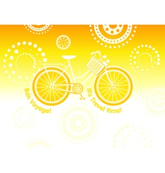 Travel bicycle postcard vector