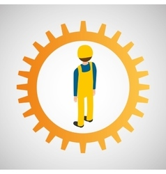 under construction gear worker vector image
