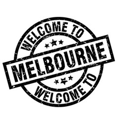 Welcome to melbourne black stamp vector