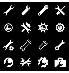 white settings wrench icon set vector image vector image
