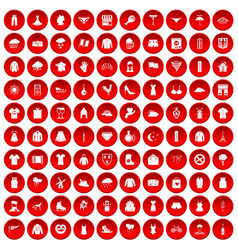 100 clothing icons set red vector