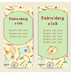Embroidery flat design information cards vector
