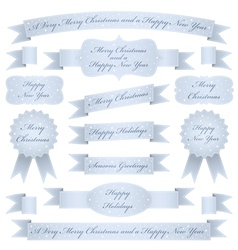 blue christmas ribbons vector image