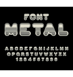 Metal font abc of iron steel alphabet metallic vector