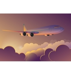Airplane flying in the sky at sunrise airplane vector