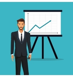 Man business office presentation financial graph vector