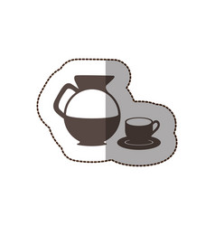 contour water pitcher with coffee cup and plate vector image