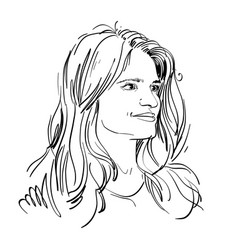 portrait of attractive pensive woman vector image