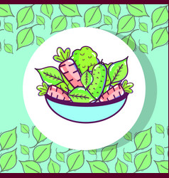 Fresh and delicious vegetables inside of bowl vector