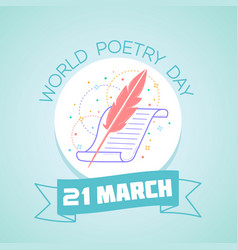 21 march world poetry day vector