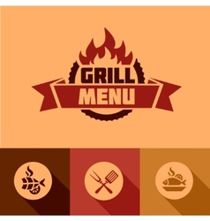 Flat grill menu design elements vector