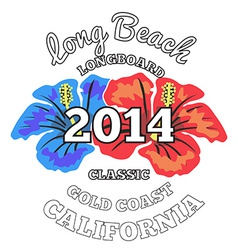 Long beach surfing artwork vector
