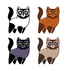 Set of cartoon kitties or cats vector