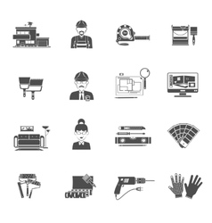 Interior design black icons set vector