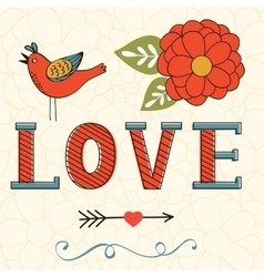 Beautiful love card with love lettering flower vector
