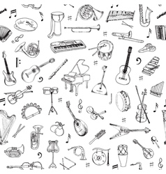 Music instruments background - seamless pattern vector