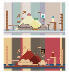 Set restaurant colorful interior design elements vector