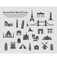 Round the world tour set of icons vector