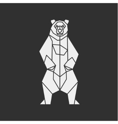 Bear of the contour lines polygons low poly vector