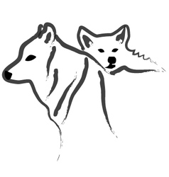 Dogs or Wolfs silhouettes vector image