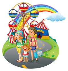 A family bonding at the carnival vector image vector image