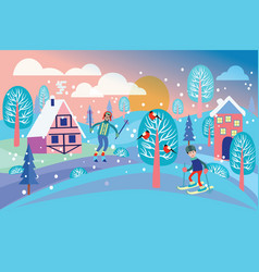 beautiful winter landscape with winter landscape vector image vector image