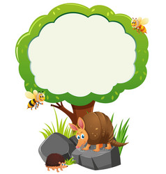 Border template with many animals under tree vector