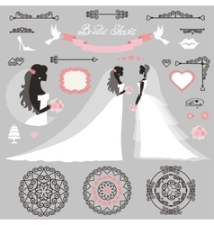 Bride setwedding bridal shower decor vector