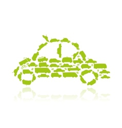 Car shape made from transport for your design vector image vector image
