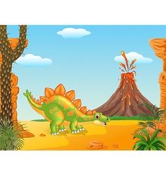 Cartoon funny stegosaurus posing vector
