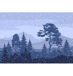 Christmas Winter Mountain Landscape vector image vector image