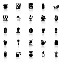 Coffee and tea icons with reflect on white vector image