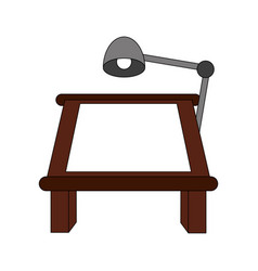 Color image cartoon drawing table with lamp vector