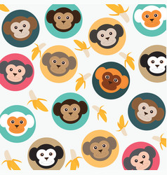 Cute monkey with bananas vector