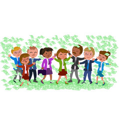 exulting business people with money isolated vector image vector image