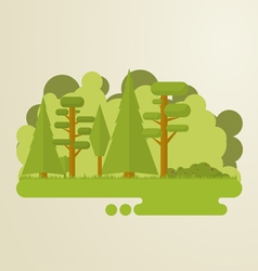 Flat trees abstract island vector image vector image