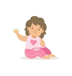 Girl in pink pants waving adorable smiling baby vector