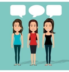 group women chat bubble talk isolated vector image