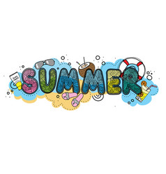 Hand drawn summer time typographic on vector