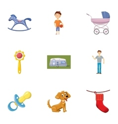 Kids fun icons set cartoon style vector