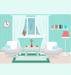Living room interior including furniture winter vector
