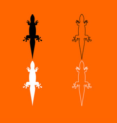 Lizard black and white set icon vector
