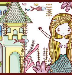 Mermaid on castle cute cartoon vector