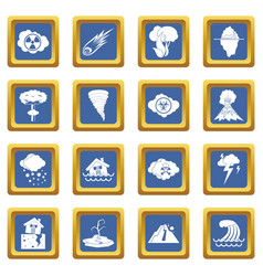 Natural disaster icons set blue vector
