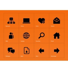 Network icons on orange background vector