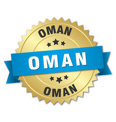 Oman round golden badge with blue ribbon vector