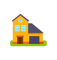 Orange suburban house exterior design with garage vector