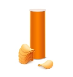 Orange tin box container tube with potato chips vector